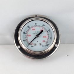 Stainless steel pressure gauge 160 Bar dn 63mm flange