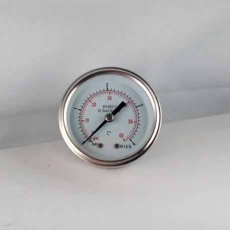 Stainless steel pressure gauge 4 Bar diameter dn 50mm back