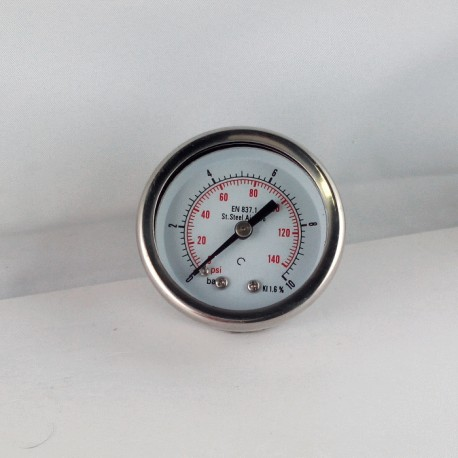Stainless steel pressure gauge 10 Bar diameter dn 50mm back