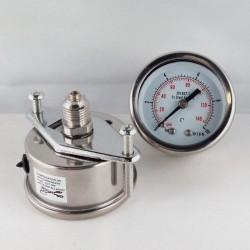 Stainless steel pressure gauge 10 Bar dn 50mm u-clamp