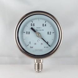 Stainless steel vacuum gauge 1 Bar diameter dn 100mm bottom