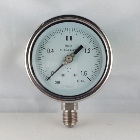 Stainless steel pressure gauge 1,6 Bar diameter dn 100mm bottom