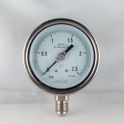 Manometro Inox 2,5 Bar diametro dn 100mm radiale