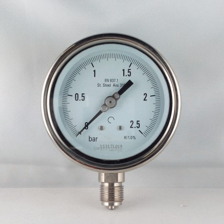 Stainless steel pressure gauge 2,5 Bar diameter dn 100mm bottom
