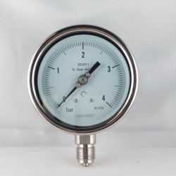 Stainless steel pressure gauge 4 Bar diameter dn 100mm bottom