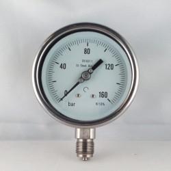 Stainless steel pressure gauge 160 Bar diameter dn 100mm bottom