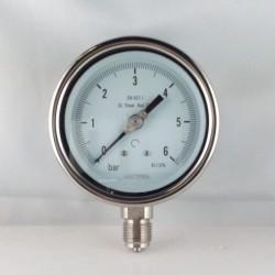 Stainless steel pressure gauge 6 Bar diameter dn 100mm bottom