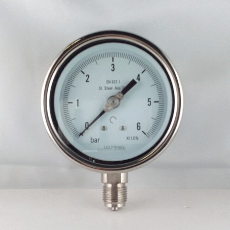 Stainless steel pressure gauge 6 Bar diameter dn 100mm bottom