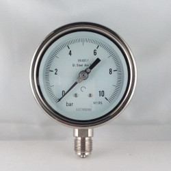 Stainless steel pressure gauge 10 Bar diameter dn 100mm bottom
