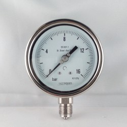 Stainless steel pressure gauge 16 Bar diameter dn 100mm bottom