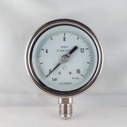 Stainless steel pressure gauge 16 Bar diameter dn 100mm bottom