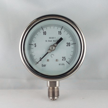Stainless steel pressure gauge 25 Bar diameter dn 100mm bottom