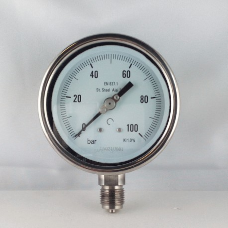 Stainless steel pressure gauge 100 Bar diameter dn 100mm bottom