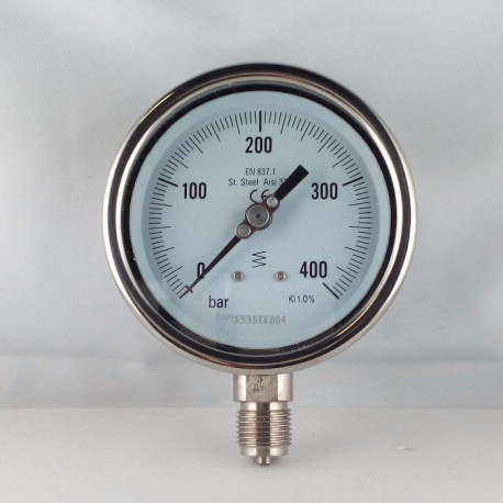Stainless steel pressure gauge 400 Bar diameter dn 100mm bottom