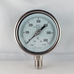 Stainless steel pressure gauge 600 Bar diameter dn 100mm bottom