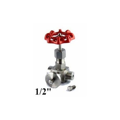 "3 Way Stainless steel needle valve for gauge 1/2""Bsp"