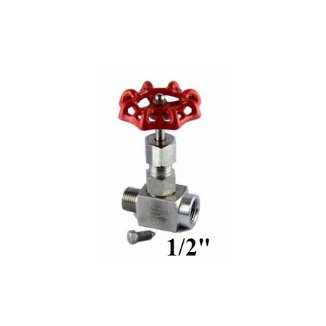 "Stainless steel needle valve for gauge 1/2""Bsp"