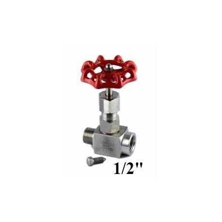 "Stainless steel needle valve for gauge 1/2""Bsp"