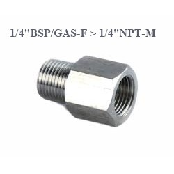 "Stainless Steel adapter from F 1/4""BSP to M 1/4""NPT"