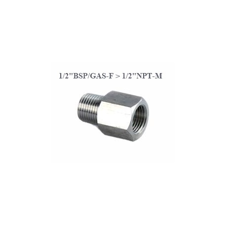 "Stainless Steel adapter from F 1/2""BSP to M 1/2""NPT"
