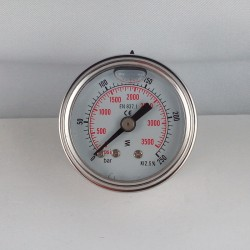 Glycerine filled pressure gauge for washer 315 Bar dn 63mm back