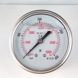 Glycerine filled pressure gauge for washer 400 Bar dn 63mm back