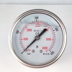 Manometro glicerina per idropulitrice 400 Bar dn 63mm posteriore