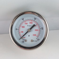 Glycerine filled pressure gauge for washer 250 Bar dn 50mm back