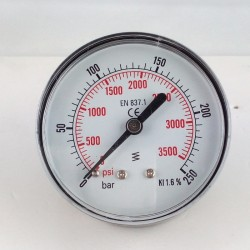 Dry pressure gauge 400 Bar for washer dn 63mm back