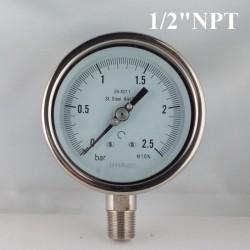"""Manometro Inox 2,5 Bar diametro dn 100mm rad 1/2""""NPT"""