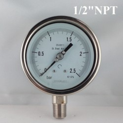 "Stainless steel pressure gauge 2,5 Bar diameter dn 100mm bott. 1/2""NPT"