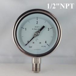 """Manometro Inox 4 Bar diametro dn 100mm rad. 1/2"""" NPT"""