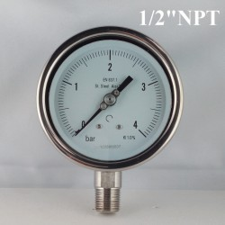"Stainless steel pressure gauge 4 Bar diameter dn 100mm bott.1/2"" NPT"