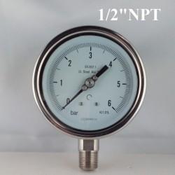 """Manometro Inox 6 Bar diametro dn 100mm rad. 1/2"""" NPT"""