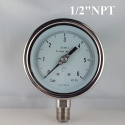 "Stainless steel pressure gauge 6 Bar diameter dn 100mm bott. 1/2"" NPT"