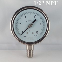 "Stainless steel pressure gauge 10 Bar diameter dn 100mm bott. 1/2"" NPT"