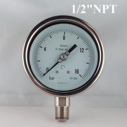 "Stainless steel pressure gauge 16 Bar diameter dn 100mm bott. 1/2"" NPT"