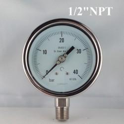 """Manometro Inox 40 Bar diametro dn 100mm rad. 1/2"""" NPT"""