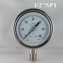 """Manometro Inox 60 Bar diametro dn 100mm rad. 1/2"""" NPT"""
