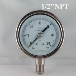 "Stainless steel pressure gauge 60 Bar diameter dn 100mm bott. 1/2"" NPT"