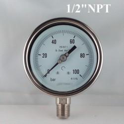 """Manometro Inox 100 Bar diametro dn 100mm rad. 1/2"""" NPT"""