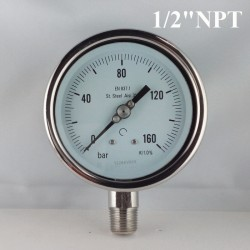"Stainless steel pressure gauge 160 Bar diameter dn 100mm bott. 1/2"" NPT"