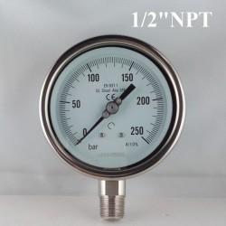 """Manometro Inox 250 Bar diametro dn 100mm rad. 1/2"""" NPT"""