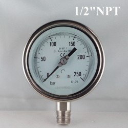 "Stainless steel pressure gauge 250 Bar diameter dn 100mm bott. 1/2"" NPT"