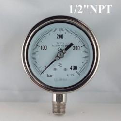 """Manometro Inox 400 Bar diametro dn 100mm rad. 1/2"""" NPT"""