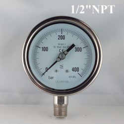 "Stainless steel pressure gauge 400 Bar diameter dn 100mm bott. 1/2"" NPT"