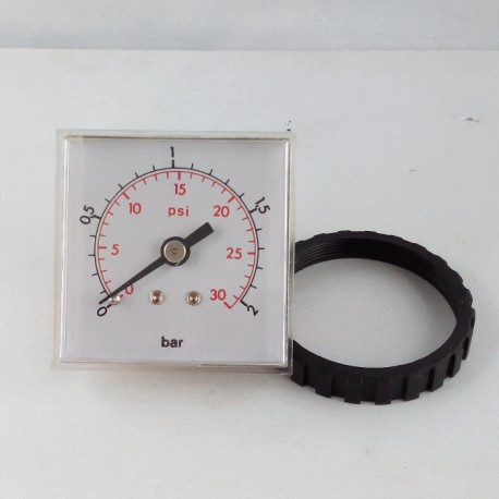 Panel square pressure gauge 2 Bar 48x48mm with loking ring