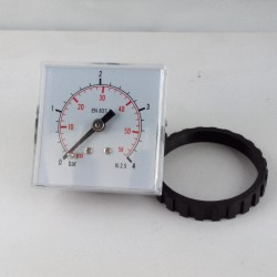 Panel square pressure gauge 4 Bar 48x48mm with loking ring