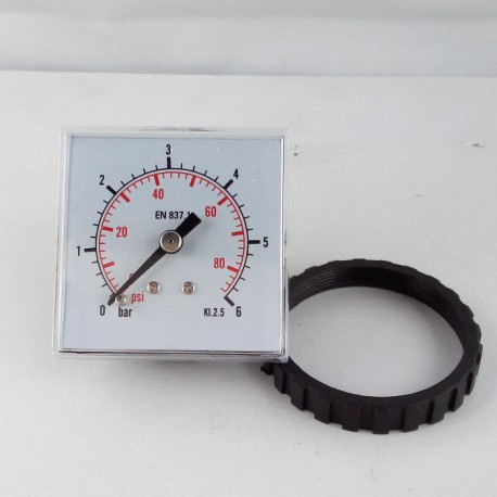 Panel square pressure gauge 6 Bar 48x48mm with loking ring