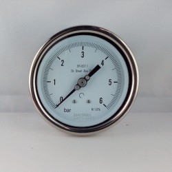 Stainless steel pressure gauge 6 Bar diameter dn 100mm back